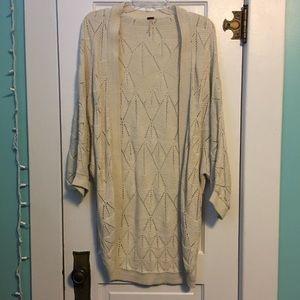 Cream colored long cardigan L